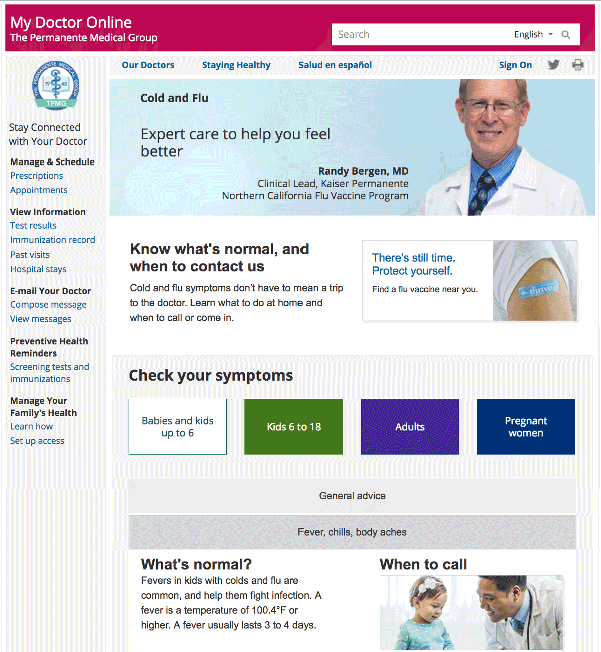 Screenshot of Cold and Flu section of My Doctor Online